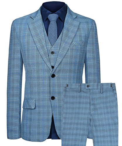(Hanayome Men's Business Suit Slim Fit Two Buttons Tartan Blazer Waistcoat Pants(Blue,50))