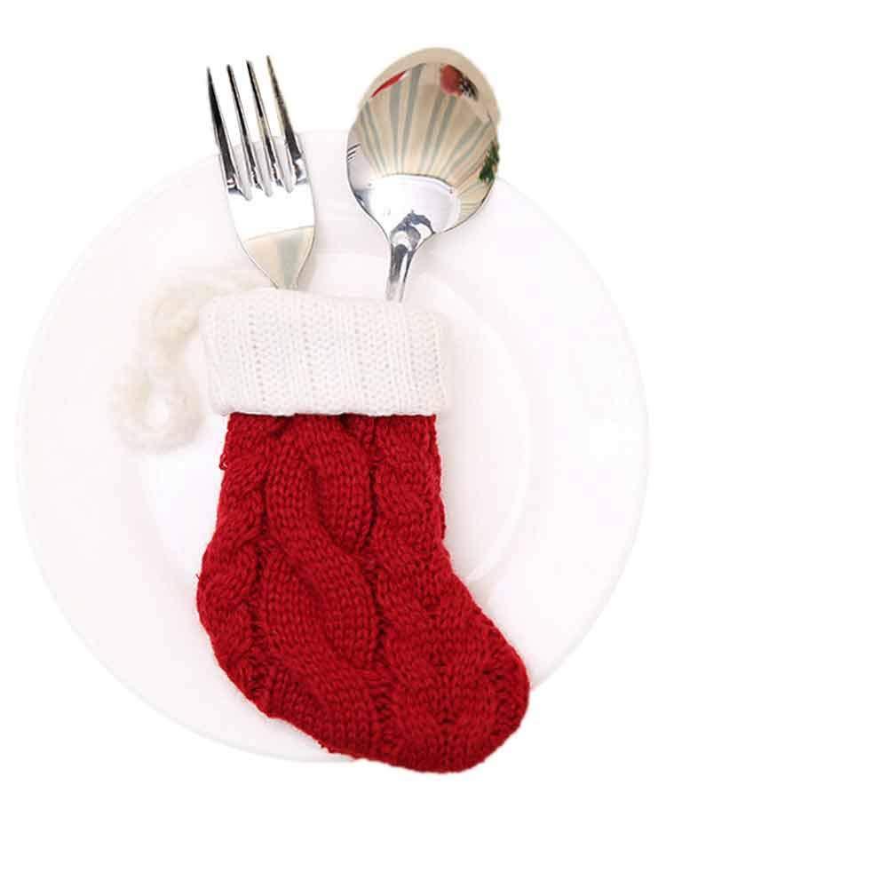 WeiYun Christmas Decorative Tableware Fork Set Christmas Hat Storage Tool
