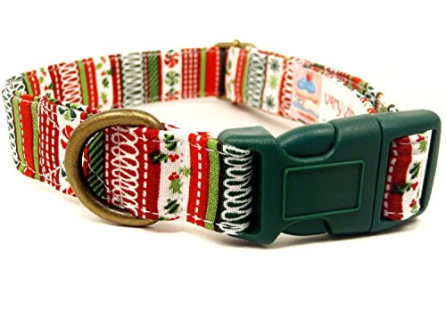 Christmas Pet Dog Collar Ribbon (Very Vintage Designs Ribbon Candy - Red Green Striped Xmas Winter Christmas Organic Cotton Pet Collar - Handmade in the USA)