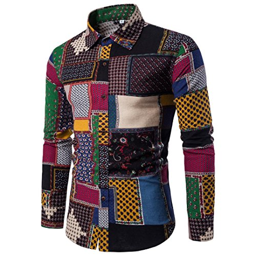 LOngra Mens Casual Long Sleeve Shirt Business Slim Fit Shirt Print Blouse Top Long Sleeve Tops Mens Long Shirts for Men Mens Long Tops (Multicolor, XXL)