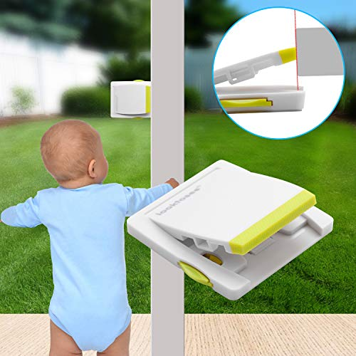 Sliding Door and Window Locks for Baby Safety | Keyless Kids Security Window Guard For Patio, Closet, Shutters, Windows & more | with Strong Adhesive Tape, No Screws or Drills Needed (4 Pack) (Patio Doors Shutters Window For)