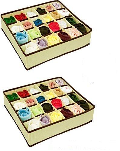 Closet Underwear Storage Organizer Box,for Socks Bra Ties Clothing Lingerie Underwear Drawer, 24 Divider Collapsible,Beige, Size: 12