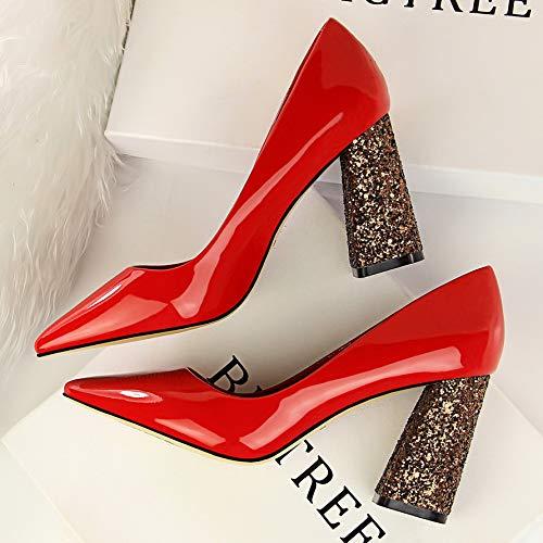 Gruesos Alto Poco Amarillo Tacón Caqui DE alto Zapatos Yukun Verano De de Negro Red Salvajes con De Otoño 39 De Mujer Color Profunda tacón De zapatos Zapatos Zapatos De Boca Charol nxTP4