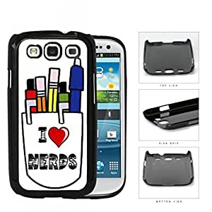 I Heart Nerds With Pens In Coffee Mug Hard Plastic Snap On Cell Phone Case Samsung Galaxy S3 SIII I9300
