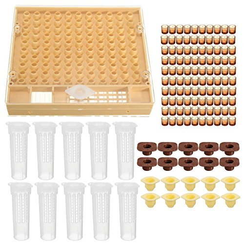 Katoot@ Bee Beekeeping 100 Cell Cups Cupkit Tool Set Queen Rearing System Bee Nicot Complete Catcher Cage Apiculture Helper