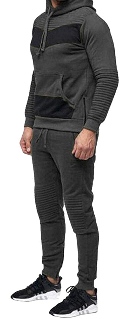 Agana Mens Hoodie Slim Fit Sport Pants Sweatshirt Stitching Tracksuit Set