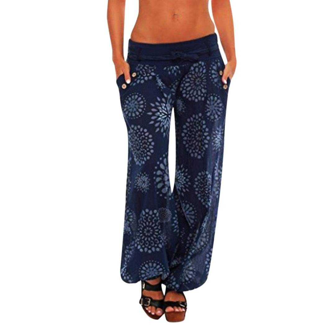 Plus Size Women Loose Pants,Vanvler Ladies Harem Trousers - Wide Leg Pants Print Leggings with Pocket Clearance Sale (4XL, Navy)