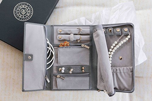 Saffiano Leather Travel Jewelry Case - Jewelry Organizer [Petite] by Case Elegance by case Elegance (Image #3)