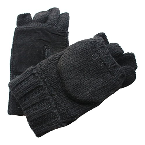 Rag Wool Gloves (Men's Rag Wool Convertible Fingerless Lined Gloves With Mitten Covers (L/XL, Black))
