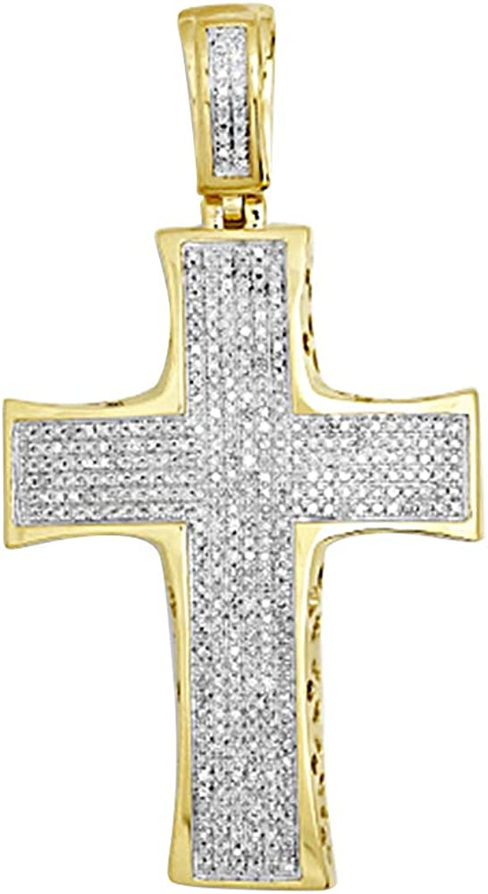 0.35 Ct Round cut Simulated Diamond Holy Cross Pendant With 18 Chain 10K White Gold