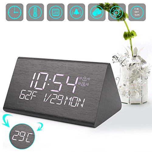 Warmhoming Digital Alarm Clock, Adjustable Brightness Voice Control Desk Wooden Alarm Clock, Large Display Time Temperature USB/Battery Powered for Home, Office, Kids (Black Kids Desk)