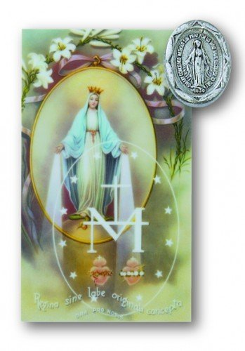Wonderful Enlightened Expressions Miraculous Medal, Virgin Saint Mary, Immaculate  Conception Pin Prayer Card Set Lapel