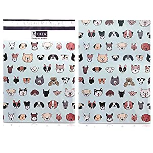 100 Pack 10x13 Dogs and Puppies Animal Poly Mailers Shipping Envelopes Bags with Custom Designer Printed Boutique Pattern and Self Seal Adhesive Strip - Large Heavy Duty Waterproof 2.5Mil Bulk Combo …