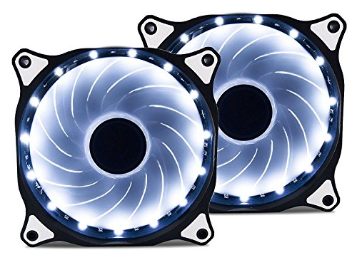 Vetroo 120mm White 15-LEDs Cooling Fan for Computer PC Cases, CPU Coolers and Radiators, 2-Pack by Vetroo