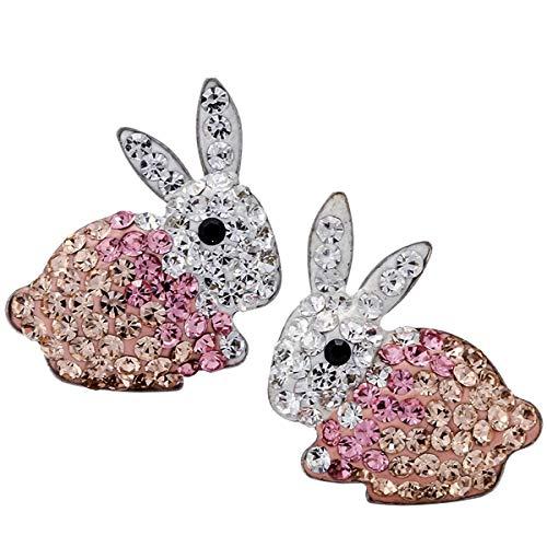 Szxc Jewelry 925 Sterling Silver Crystal Bunny Stud Earrings for Women Girls