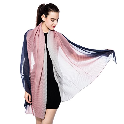 Winter Fashion Soft Thick Knitted Scarf, Gzcvba Hit Color Pleated Knit Wrap Chunky Warm Scarf (Navy+Pink+Grey) (Pink Knitted Scarf)