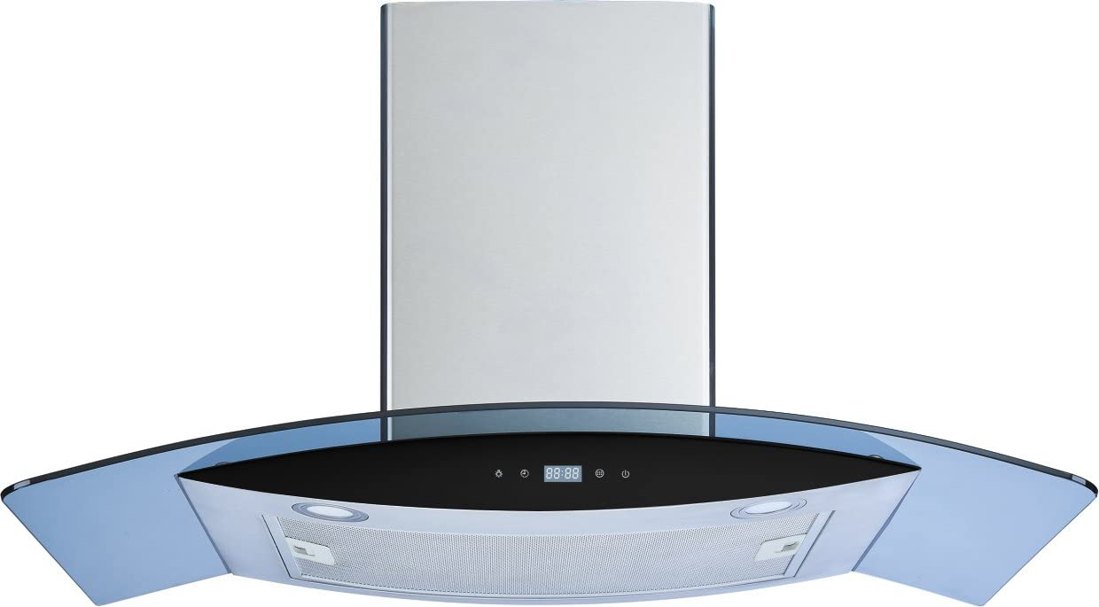 Winflo 36 In 520 CFM Convertible Stainless Steel//Glass Wall Mount Range Hood with Mesh Filter and Touch Sensor Control