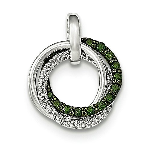Vert et or blanc 14 carats Diamant JewelryWeb cercles beige-Blanc