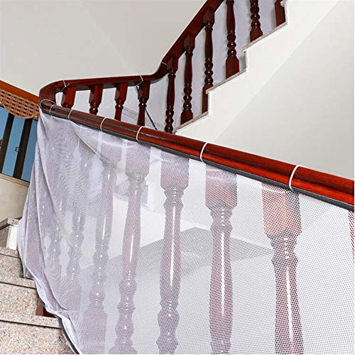 Banister Guard, Safe Rail, Deck Balcony & Stairway Safety Net for Indoor and Outdoor 10ft L x 2.5ft H – Baby Proofing, Child Safety, Stair Railing Net; Pet; Toy; Protector