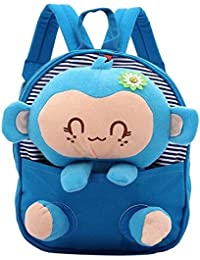 Baby's Cute 3D Monkey Little Backpack Plush Bag for Toddlers Kids,(Blue Monkey)