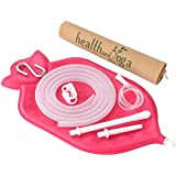 The HealthAndYoga Enema Bag Kit - Open fountain top for easy cleaning & Hygiene (2 quart) - no leaky adapters OR bottle converters