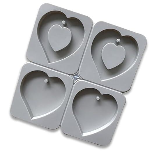 Molde de silicona para tartas, 4 cavidades, 3D, forma de corazón ...