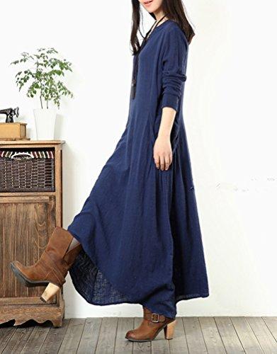 Robe Maxi Vintage NiSeng Femmes Lin V Casual Longues Irrgulier En Marine Collier Manches Robe Vrac 00r5nFHx