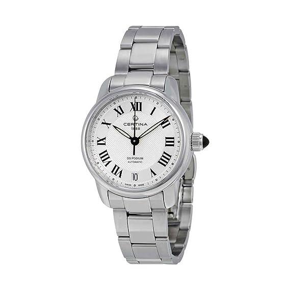 Certina - Reloj Analógico de Automático para Mujer, correa de Acero inoxidable color Plateado: Amazon.es: Relojes
