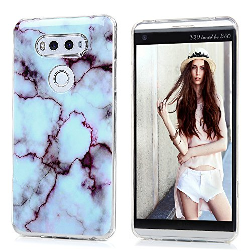 Case for LG V20, Purple White Marble Design Soft TPU Rubber Glossy Slim-Fit Full Protection Ultra-Thin Anti-Scratch Shock Proof Dust Proof Anti-Finger Cover Skin Shell for LG V20