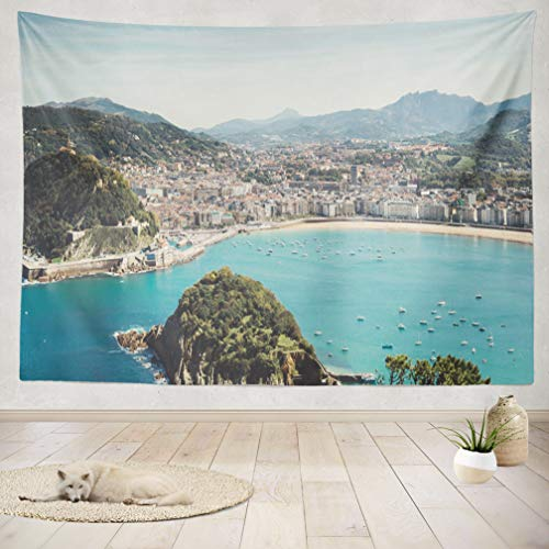 ASOCO Tapestry Wall Handing Trip Holiday Spain Country Seascape Mountain and Island Ocean City Landscape Wall Tapestry for Bedroom Living Room Tablecloth Dorm 60X80 Inches