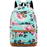 Backpack for School Girls Canvas Rucksack College Bookbags Floral Travel Daypack for Women 15'' Laptop bag (Blue - Floral)