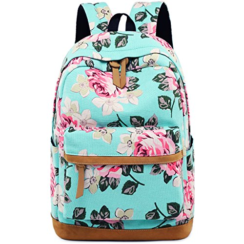 Backpack for School Girls Canvas Rucksack College Bookbags Floral Travel Daypack for Women 15'' Laptop bag (Blue - Floral) by BLUBOON