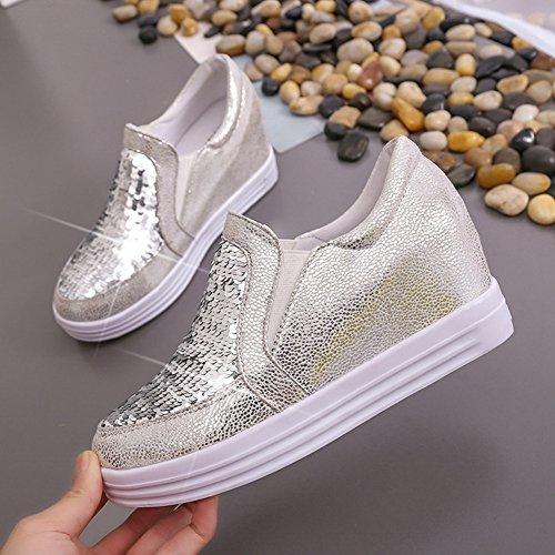CYBLING Women Fashion Sequins Hidden Heel Platform Wedge Shoes Outdoor Casual Walking Sneakers White mtzXE7