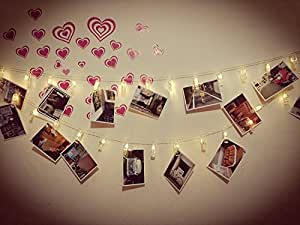 30 LED Photo Clips String Lights, Christmas Indoor Lights, USB Powered, 12 Ft, Gorgeous Warm White Light - for Hanging Photos Pictures Cards and Memos, Ideal gift for Dorms Bedroom Decoration