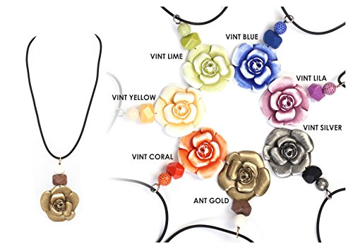 Alisha D Vintage Multi Colors Resin Flower Pedant Black Long Cord Necklaces-Made in Italy (Vintage - Necklace Gold Lila