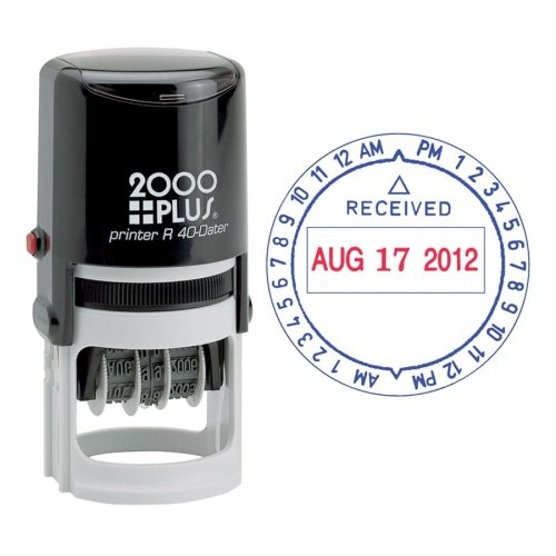 Plus Self Inking 2000 (COSCO 2000 Plus Self-Inking Date and Time Stamp - Date & Time Stamp - Red, Blue)