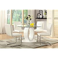 Furniture of America Quezon 5-Piece Round Glass Top Pedestal Dining Set, White