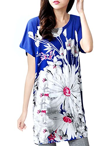Allegra K Women Flower Pattern Batwing Design Loose Fit Tunic Top Royal Blue S - Floral Shirred Tunic Top