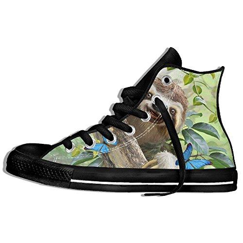 Classic High Top Sneakers Canvas Shoes Anti-Skid Sloth Selfie Casual Walking For Men Women Black g6pi1qO