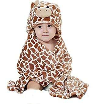 Feelme Robe De Chambre Polaire Enfant Peignoir Sortie De Bain à Capuche Animaux Pour Bébé Cape De Bain Flanelle Microfibre Girafe Taille Unique