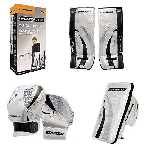 """PowerTek Barikad V2.0 Junior Ice Hockey Goalie Pad Set - 26"""" Leg Pads, Glove & Blocker"""