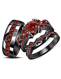 Round Cut Red Garnet His & Her Trio Infinity Ring Set in Black Gold Plated Ladies Bridal & Men Wedding Band Ring