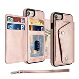 iPhone 8 Plus Case,SXTBMR Premium Leather Folio Flip iPhone 8Plus Wallet Case with Credit Card Slot,Button Flip-Out Leather Drop Protection Case for iPhone 7Plus/8Plus (Rose Gold)