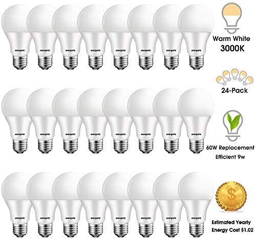 24 Pack 60 Watt LED Light Bulb A19 Warm White 3000K E26 Base 750lm Non-Dimmable UL Listed