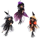 Set of 3 RAZ Imports 14 Inch Halloween Hanging Witch Decoration Figurine