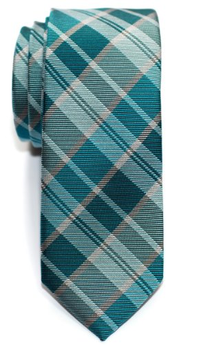 Retreez Modern Tartan Plaid Check Styles Woven Microfiber Skinny Tie - (Polyester Plaid Tie)