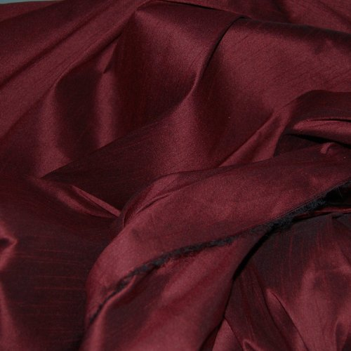 FAUX SILK DUPIONI FABRIC POLY DUPION WINE (BY THE YARD) (Dupion Fabric Silk)