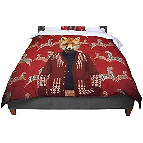 KESS InHouse Natt Family Portrait N1 Red Fox Twin Comforter 68 X 88