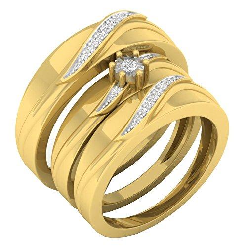 0.15 Carat (ctw) 10K Yellow Gold Round White Diamond Men & Women's Engagement Ring Trio Bridal Set