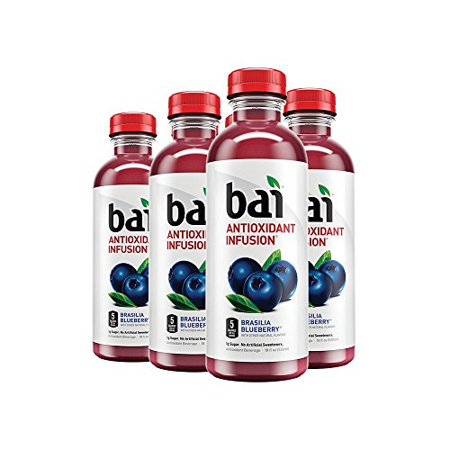 Bai Flavored Water, Brasilia Blueberry, Antioxidant Infused Drinks, 18 Fluid Ounce Bottles, 6 - Drink Energy Antioxidant